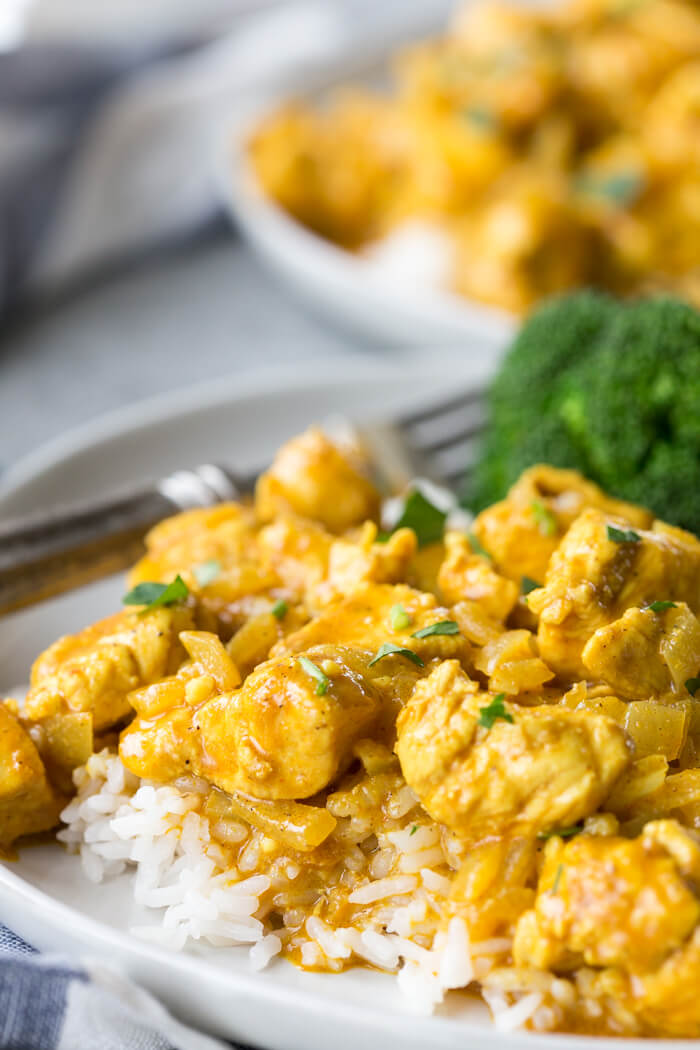 yellow curry chicken on a plate