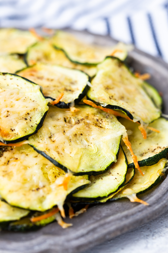 Zucchini parmesan chips are a great low carb snack