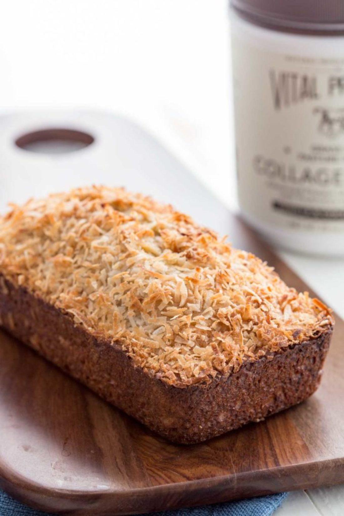 A loaf of coconut vanilla banana bread, an easy banana bread recipe, protein banana bread