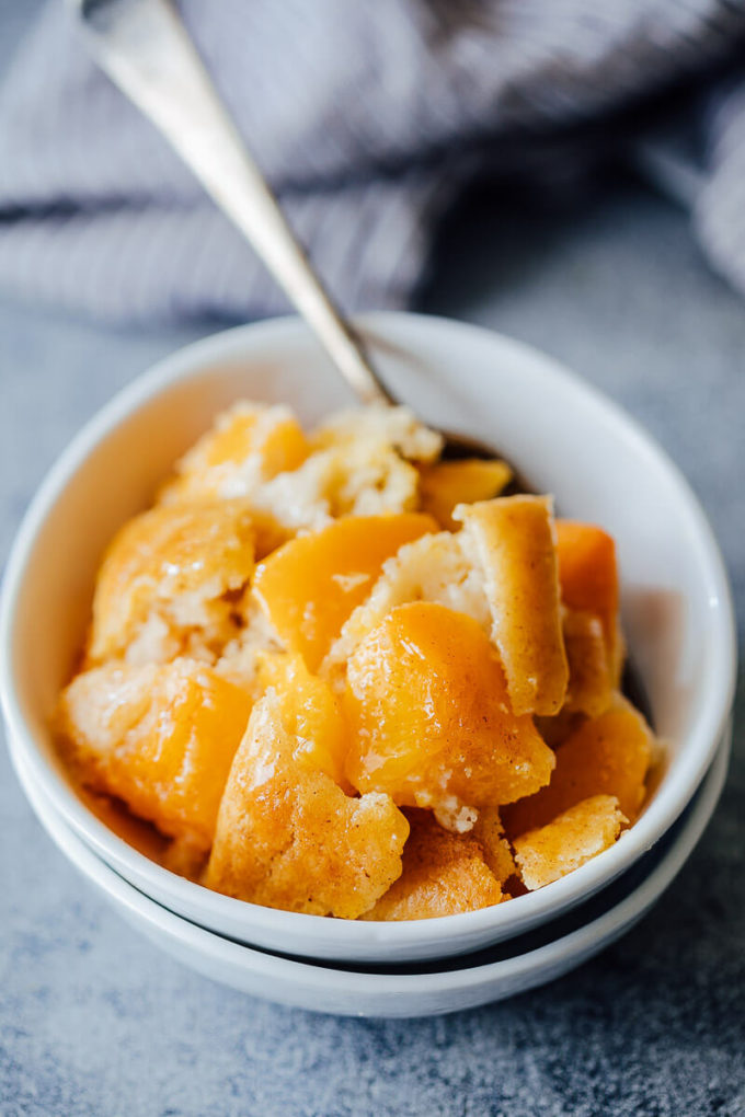 Peach cobbler, made easy using a pancake mix