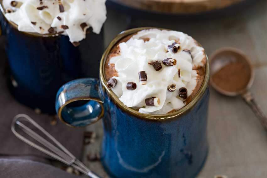 Dark chocolate, rich and creamy hot beverage. This drink is worth the indulgence.