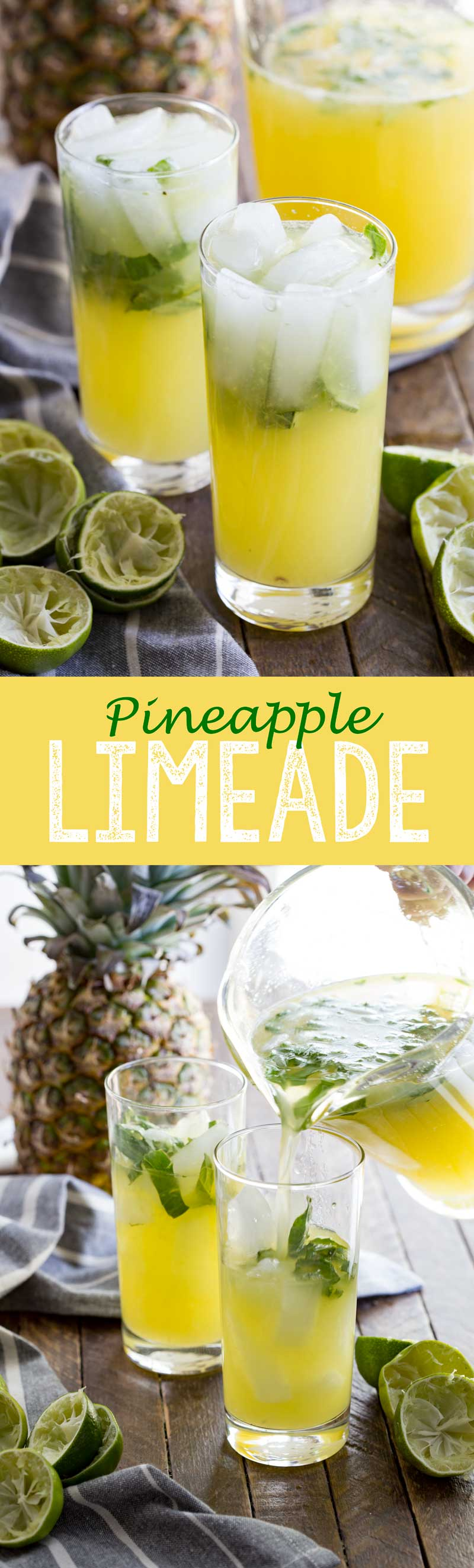 Cool refreshing pineapple limeade, the perfect combination of flavors for a summery drink