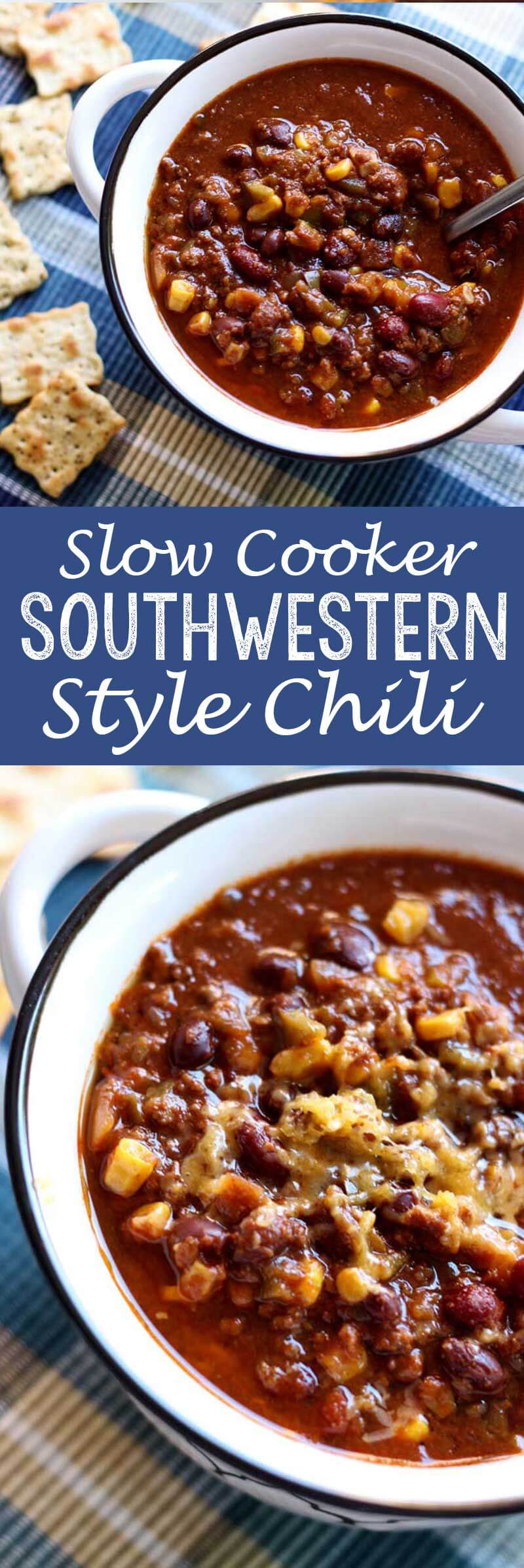 Southwester style chili cooked in the slow cooker or crock pot!