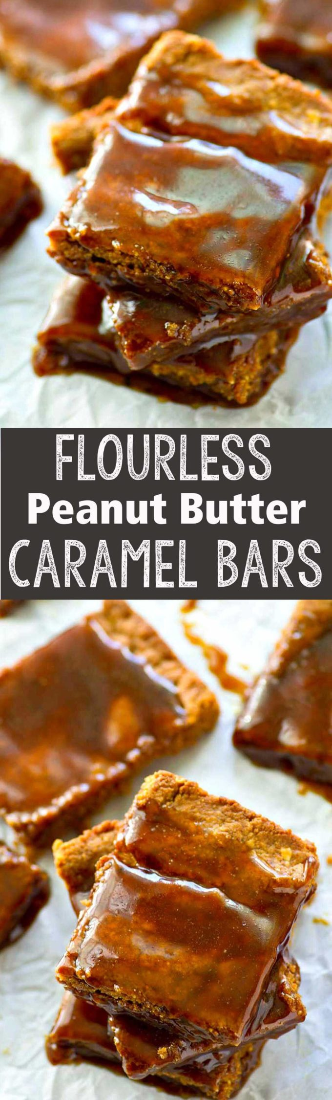 Flourless peanut butter caramel bars are the best tasting dessert ever!