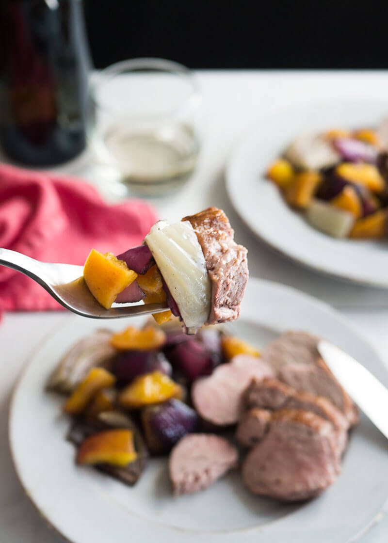 Make your weeknights easier with this healthy, one-skillet pork tenderloin recipe with peaches, fennel and red onion.