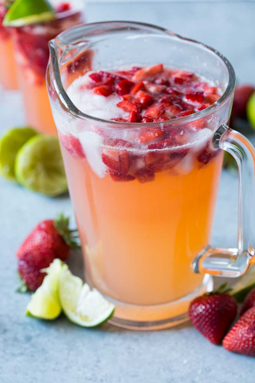 A refreshing drink, sparkling strawberry limeade.