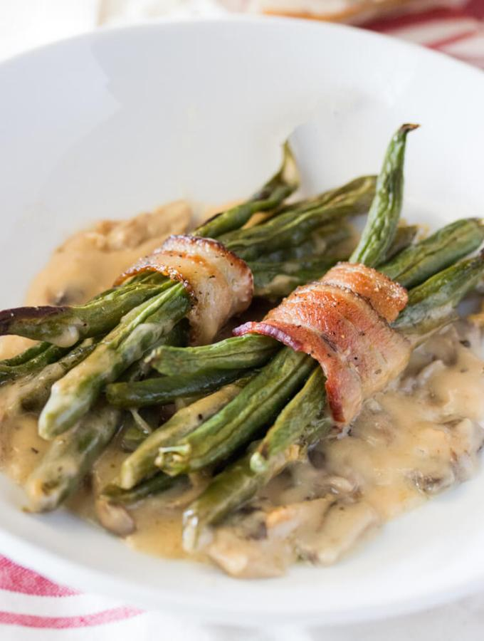 Bacon Wrapped Green Bean Bundles with Mushroom Gravy
