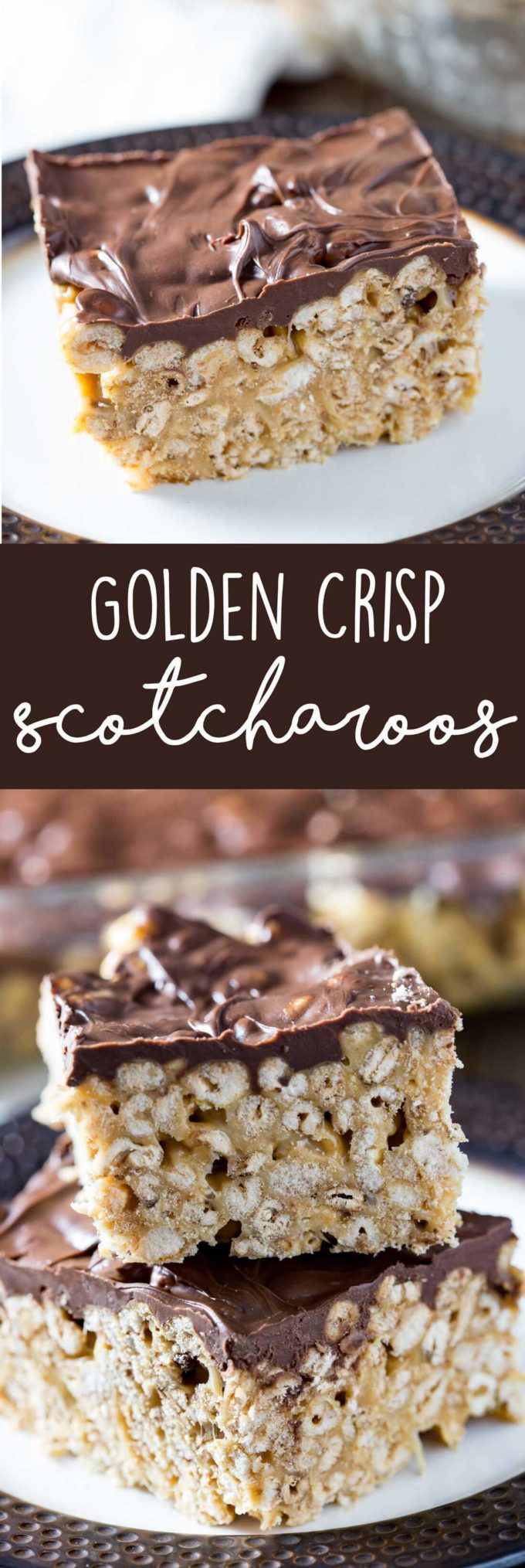 Golden Crisp® Scotcharoos: This is a gooey marshmallow-y, chocolate and peanut butter, cereal bar, with everything you want in a delicious treat.