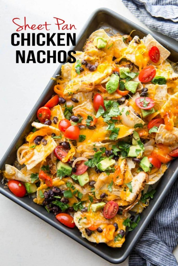Chicken Nachos are ultra filling, easy to make, and are loaded with crunchy chips, melty cheese, flavorful chicken, and your favorite toppings!