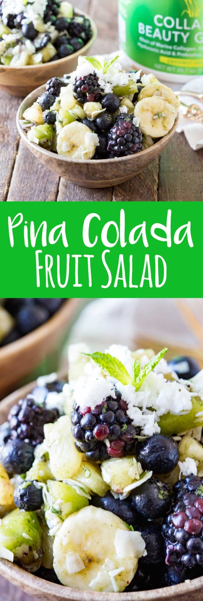 Pina Colada Fruit Salad is a refreshing, healthy twist on a classic fruit salad with a delicious beauty green dressing that offers additional health benefits.