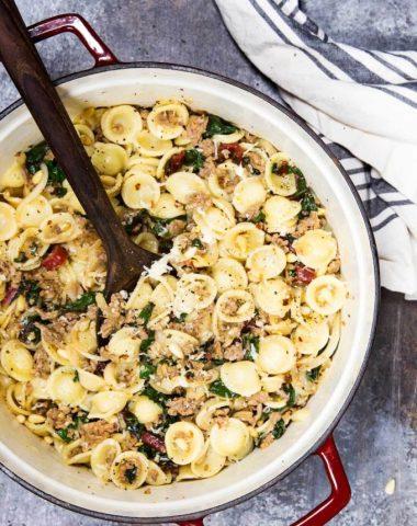 chard, pine nut and sausage pasta