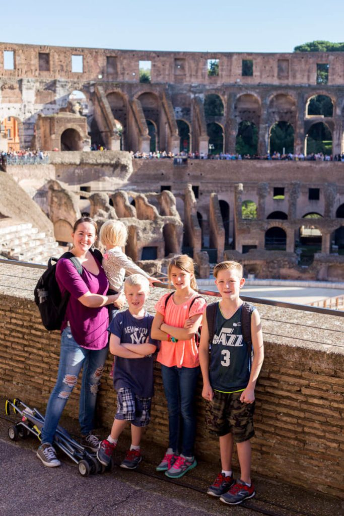 At the roman colosseum in Rome Italy