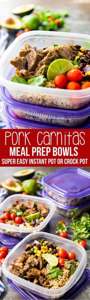 Pork Carnitas meal prep bowls can be made in the slow cooker or instant pot