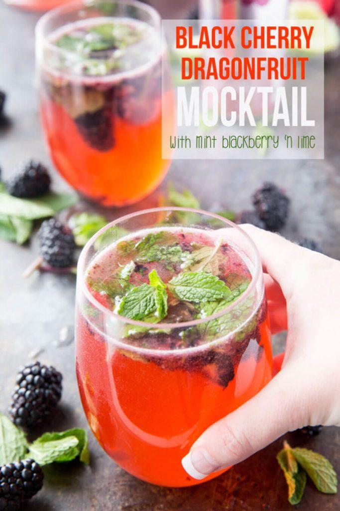 Black Cherry and Dragonfruit mocktails