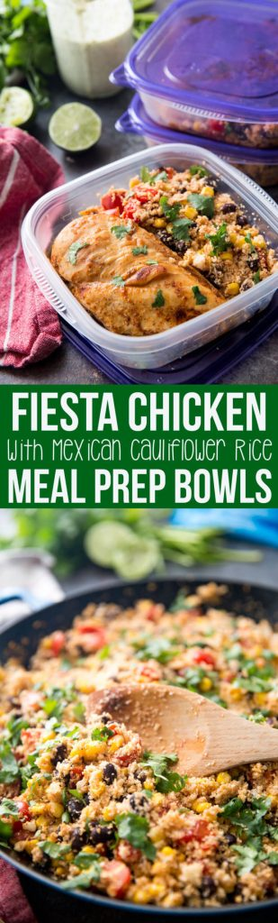 Fiesta Chicken with Cauliflower rice meal prep is easy, healthy. and delicious