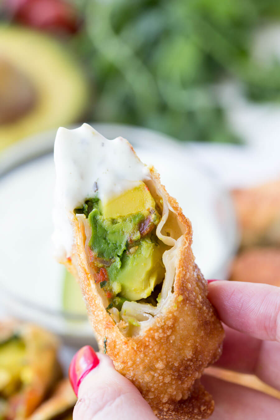 Avocado Eggrolls: Crunchy egg roll wrapper filled with chunks of California Avocados, cilantro, tomatoes, red onion, and roasted red peppers; dipped in a creamy avocado ranch dipping sauce!