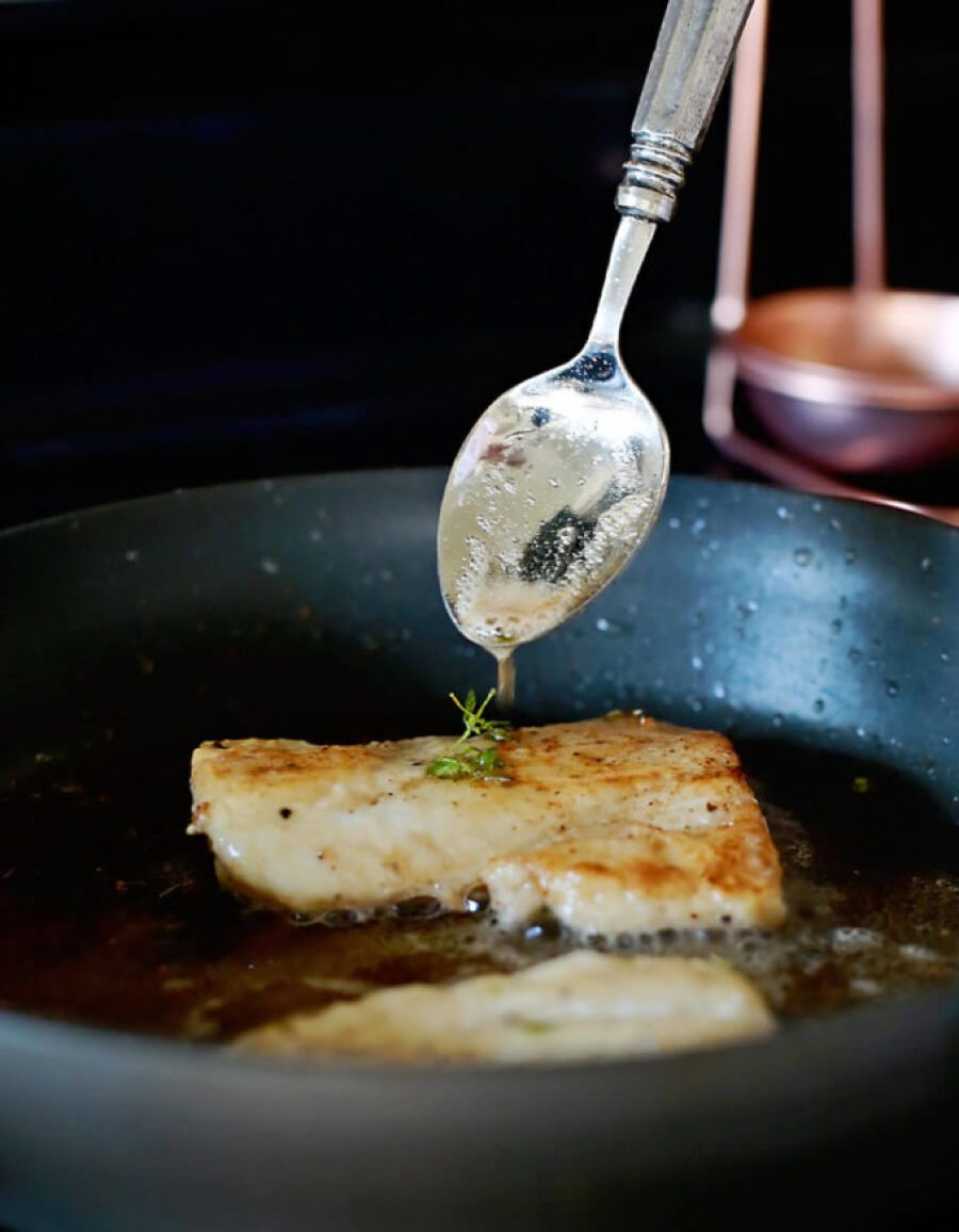 Haddock recipe with browned butter white wine sauce: Flaky haddock with browned butter wine sauce: Flaky haddock pan fried, and served with a browned butter white wine sauce. Amazingly flaky fish, with a gourmet flavor, prepared in 20 minutes or less. This simple but elegant meal is sure to be a hit!ied, and served with a browned butter white wine sauce