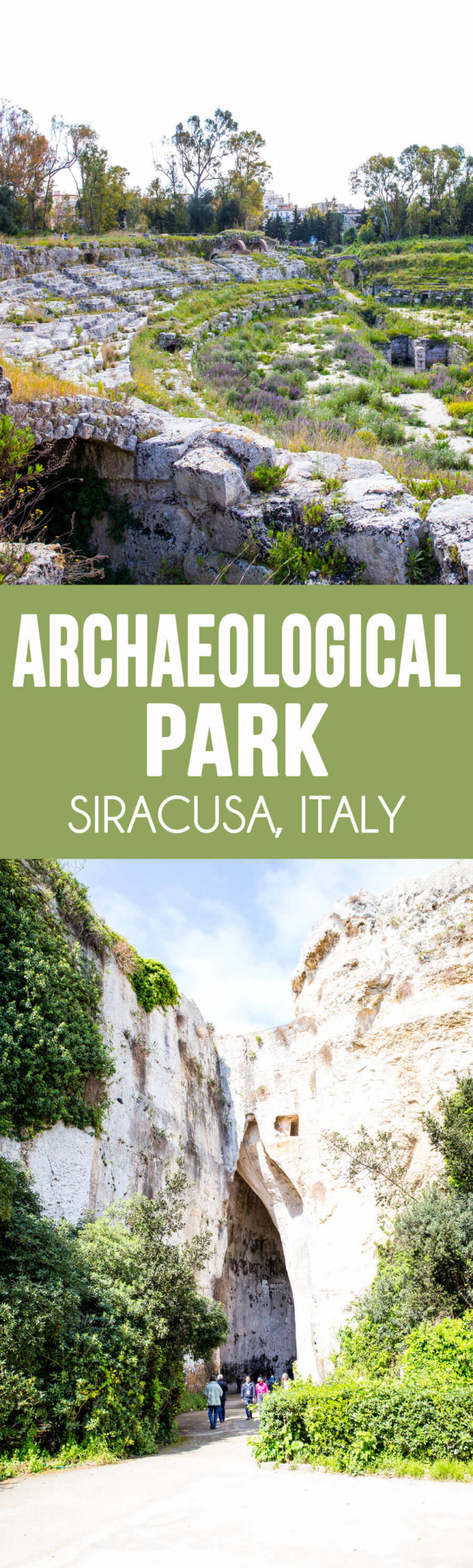 Archaeological park in Siracusa Italy, greek and roman amphitheaters