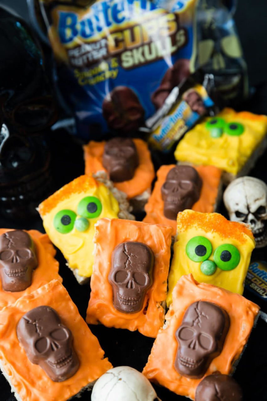 Monsters and treats with Halloween Rice Krispie Treats with Butterfinger Peanut Butter Skulls