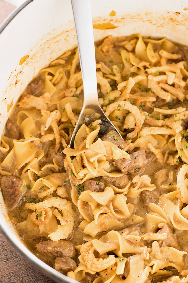 Beef and Noodles with French Onion Soup