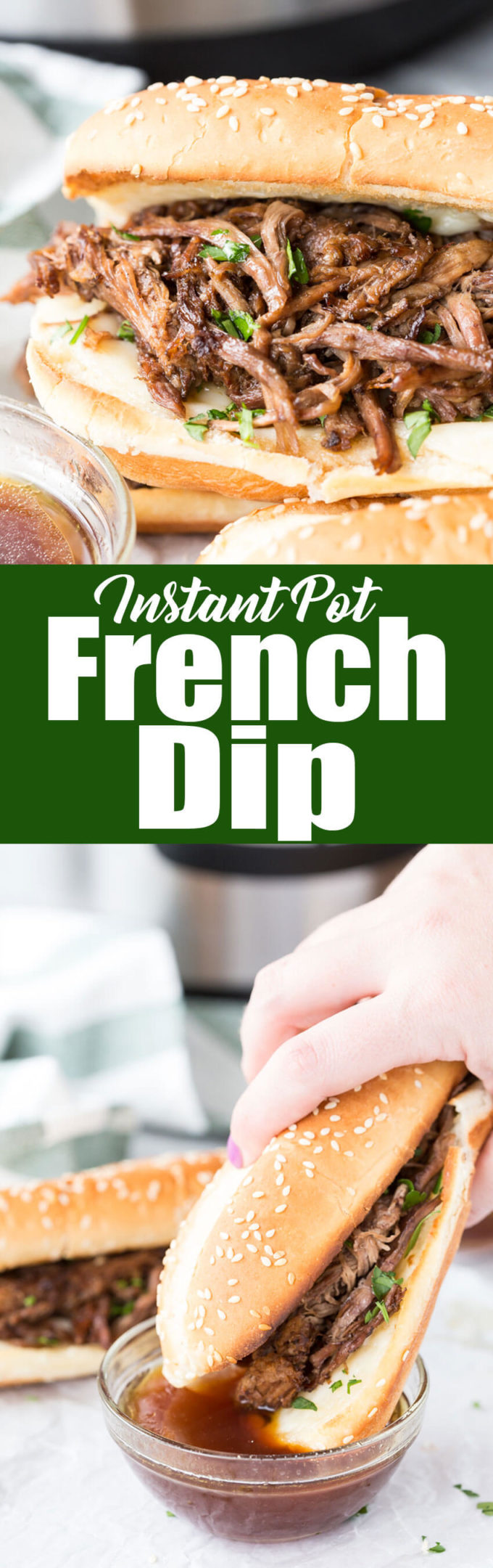 Instant Pot French Dip: Decadent and flavorful french dip sandwiches made in the Instant Pot pressure cooker for a quick and flavorful meal.