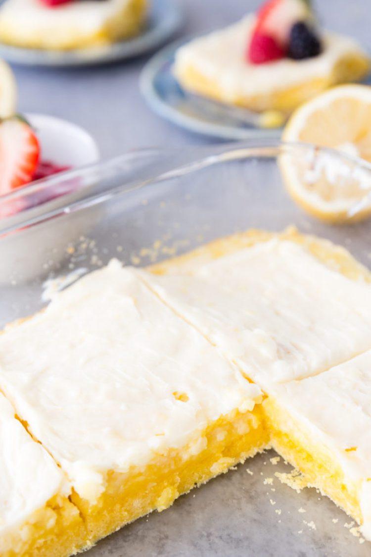 A pan of lemon cheesecake bars