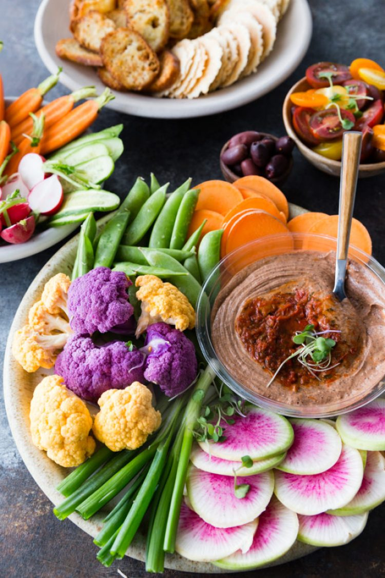 Delicious vegetable crudite with sabra bean dips