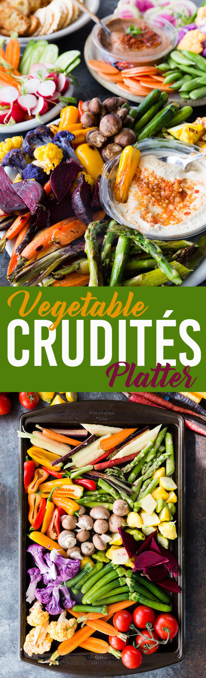 Vegetable Crudites Platter with raw and roasted vegetables and bean dip