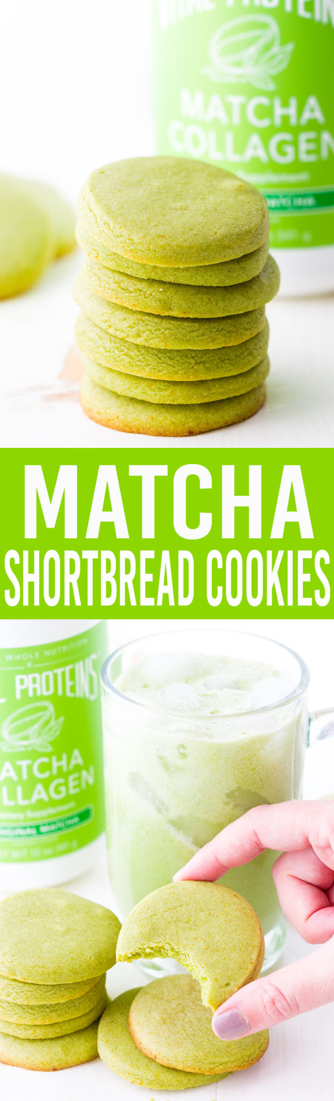 Easy to make Matcha Shortbread Cookies, packed with matcha collagen, and oh so tasty