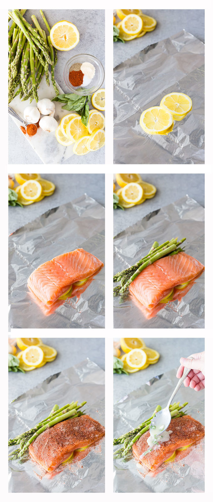 Lemon Butter and Basil Salmon with Asparagus foil packets