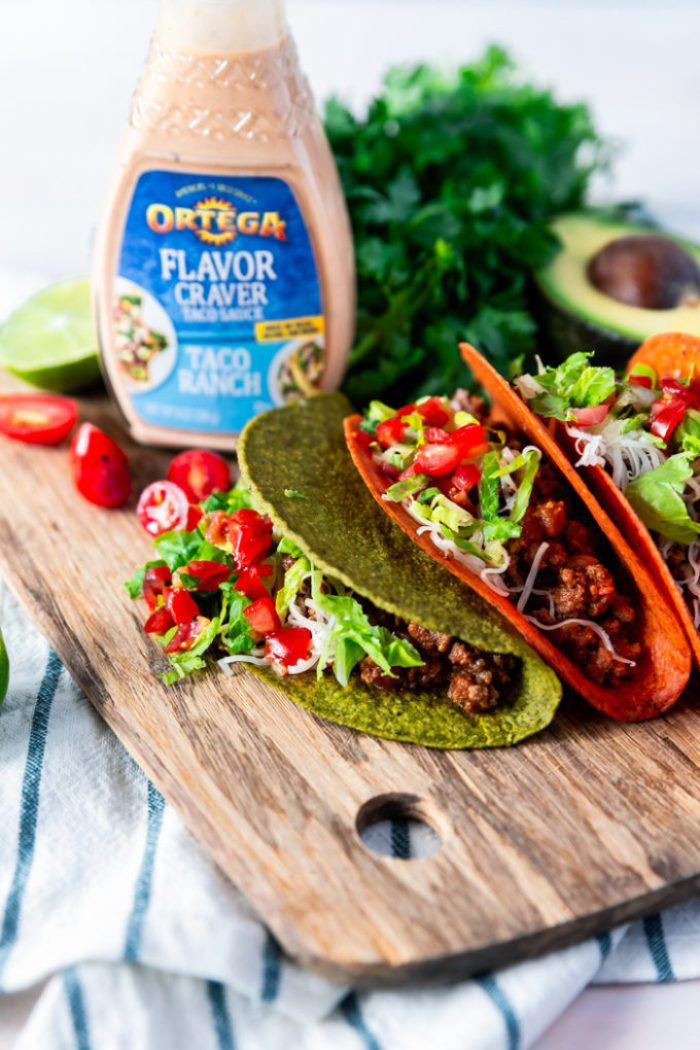 A cutting board full of delicious ground beef tacos