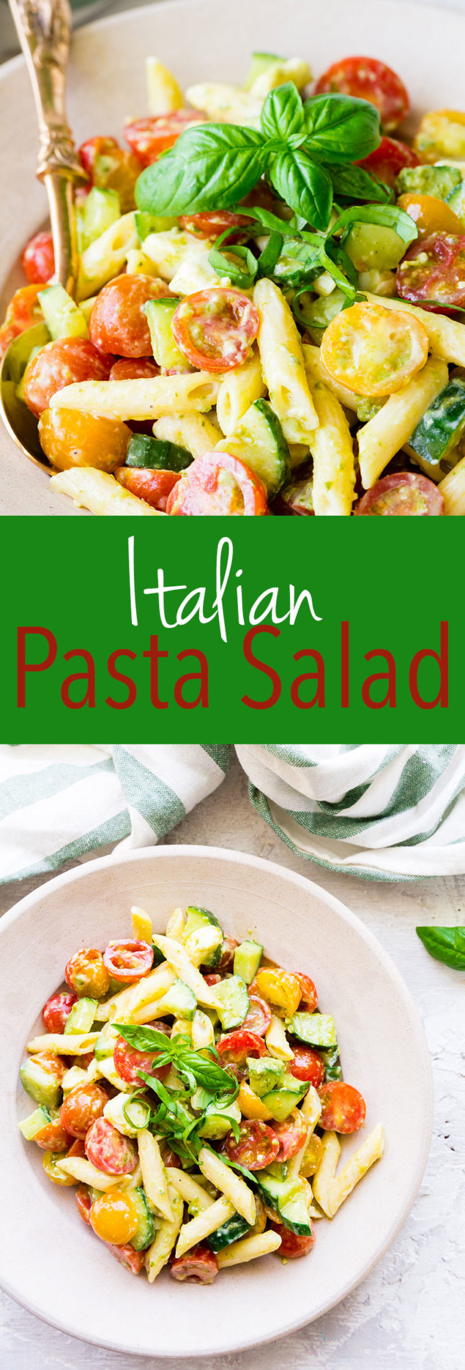 Serve hot or cold, this Italian pasta salad has a creamy Alfredo pesto sauce and all the delicious flavors you crave.