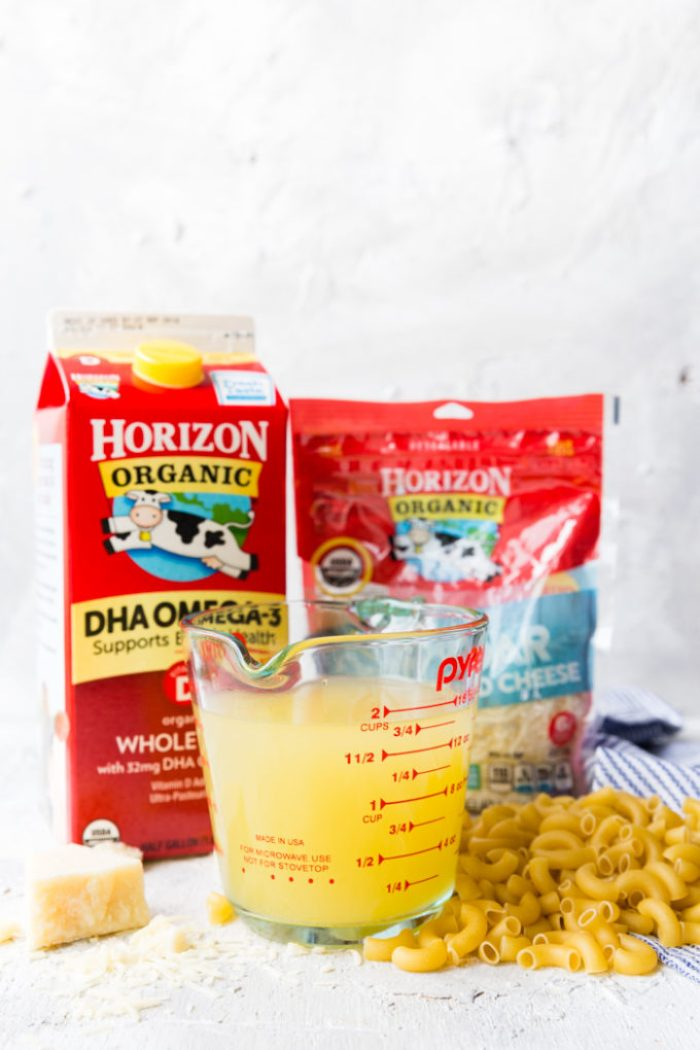 Horizon Organic products used to make organic Mac and cheese in an instant pot pressure cooker