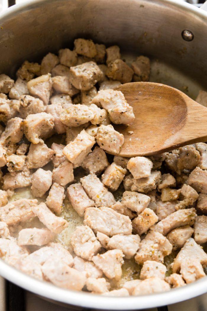 Browned bits of pork