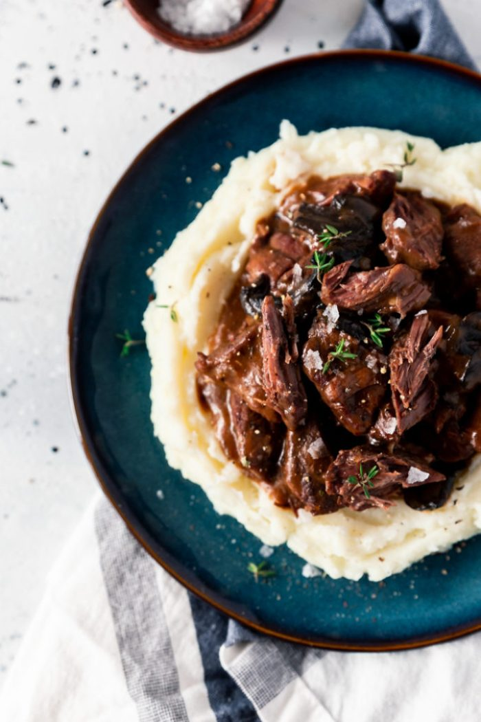 Beef Tips and Gravy made in a slow cooker