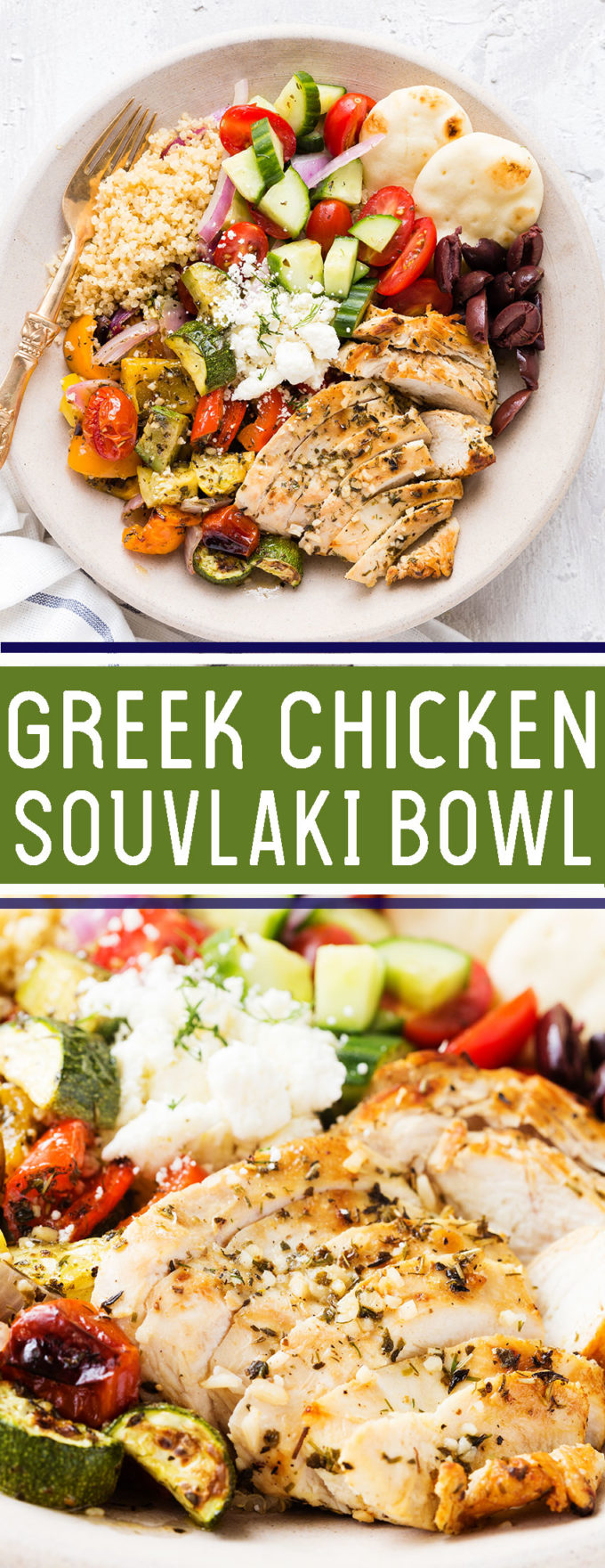Greek Chicken Souvlaki Bowl: Grilled chicken and roasted vegetables served over quinoa with a fresh cucumber salad, Kalmata olives, and feta, garnished with fresh dill