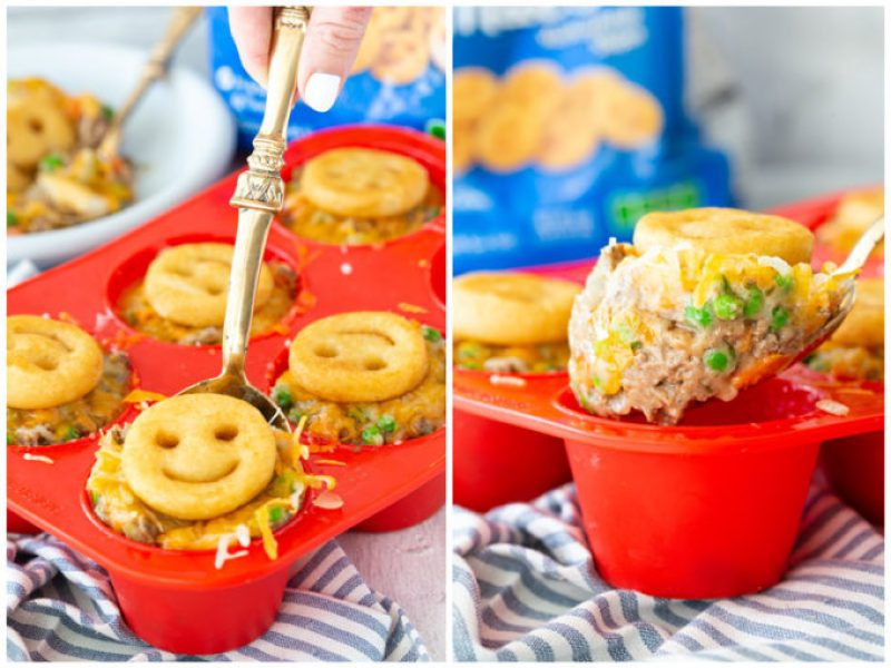 Shepherd's Pie individual cups made in a silicone muffin tin