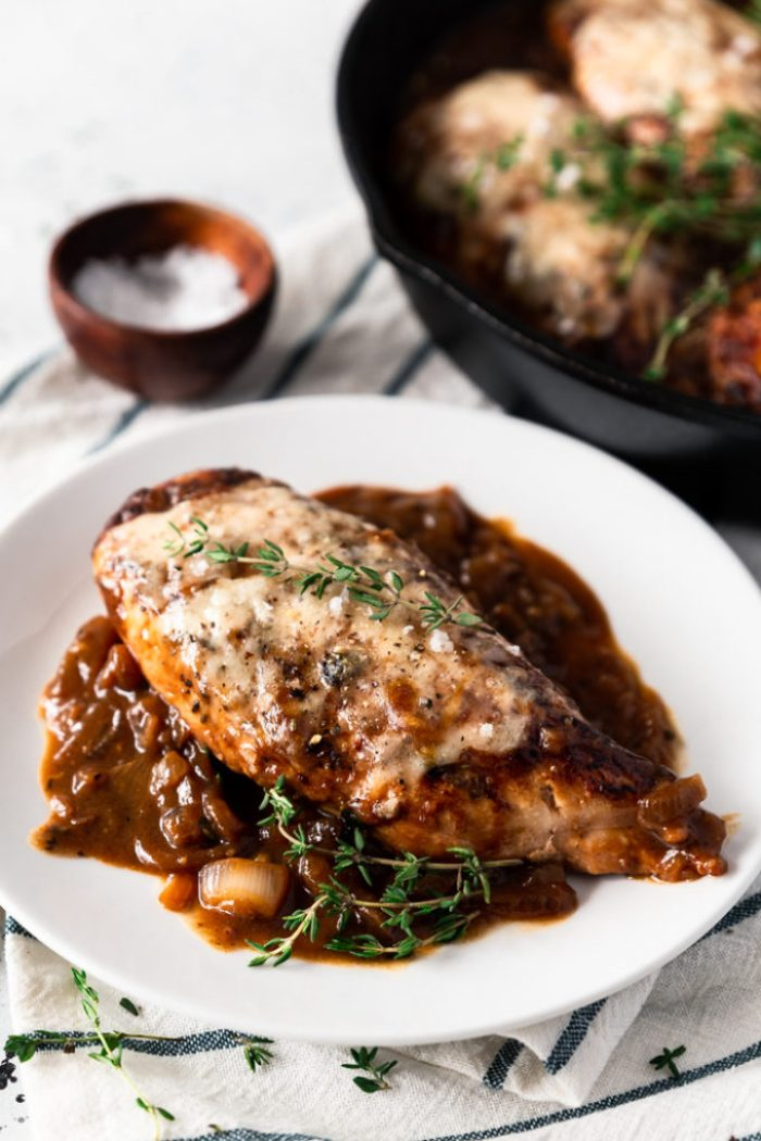 Delicious French onion chicken made in the skillet