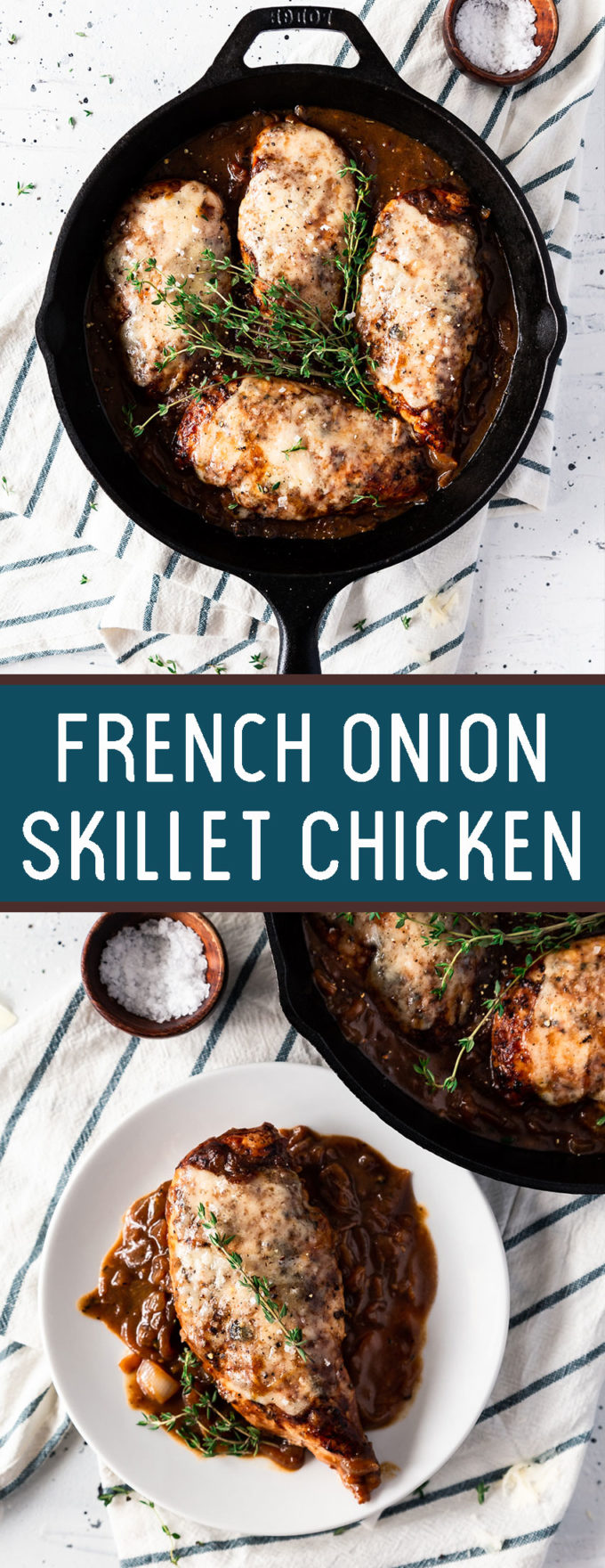 Delicious and easy to make French onion skillet chicken