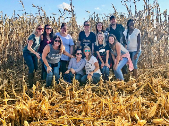 A bunch of bloggers in an Iowa Corn Field