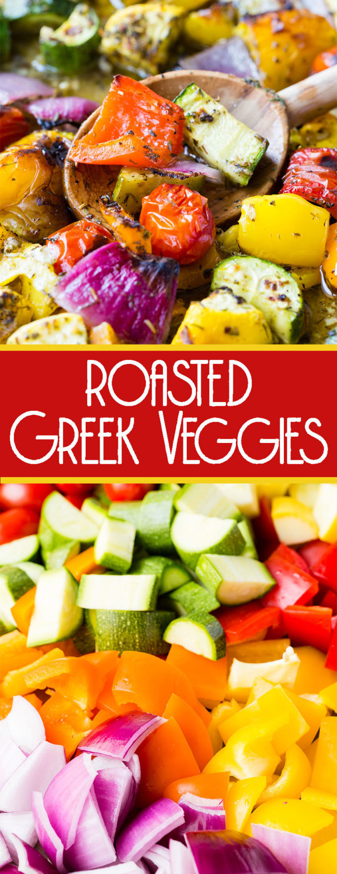 Sheet pan full of roasted greek veggies, so flavorful and delicious. The perfect side dish.