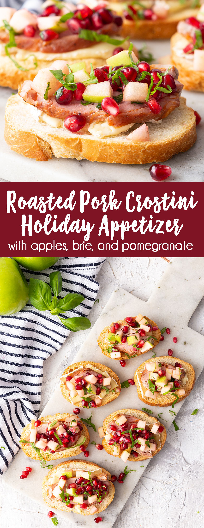 Roasted Pork Crostini Holiday Appetizer with green apple, pomegranate, and brie