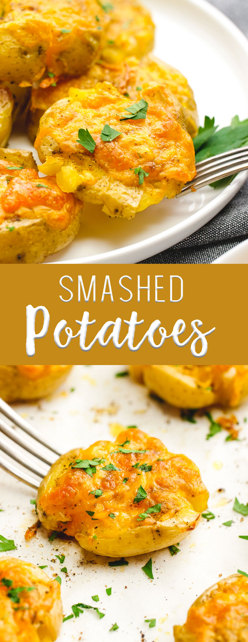 Easy to make Smashed Potatoes are slathered in butter, herbs, spices, and cheese and make a fantastic appetizer or snack.