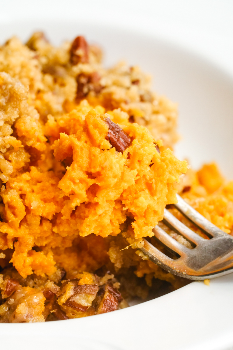 Sweet potato casserole close up on a fork