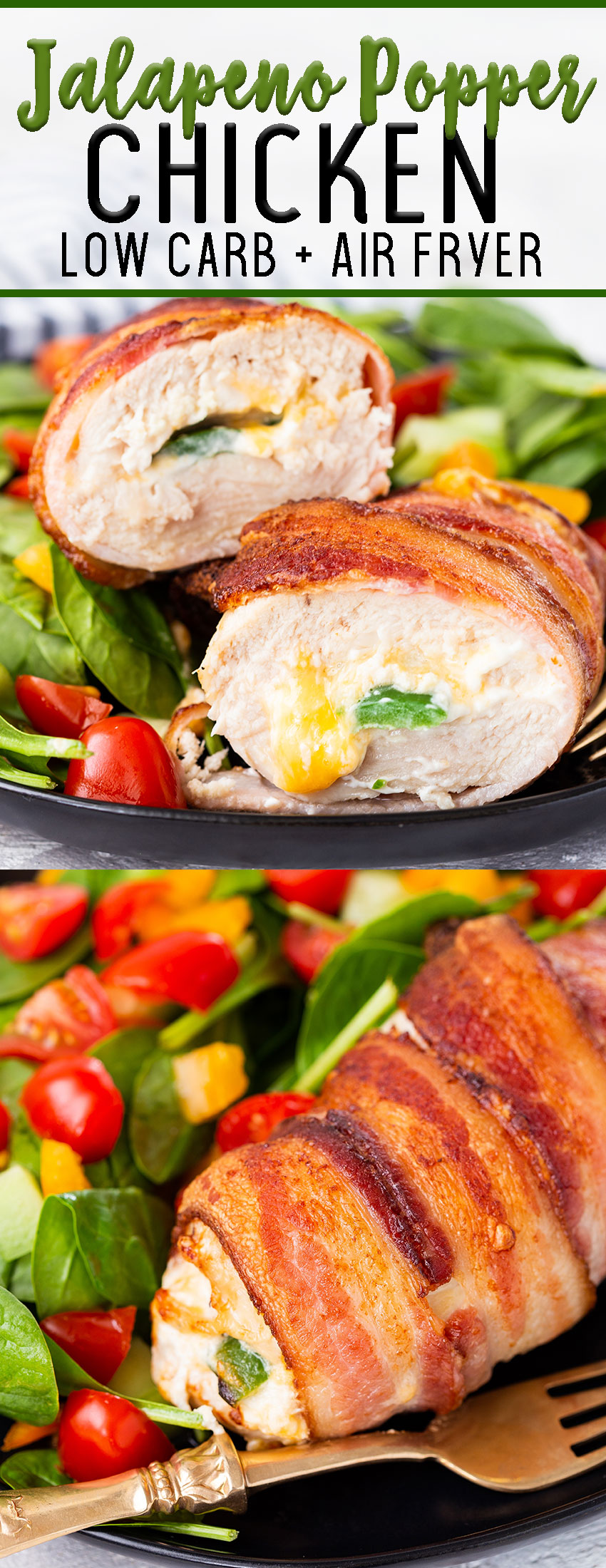Air fryer jalapeno popper stuffed chicken low carb and keto, a delicious and easy to make chicken dinner