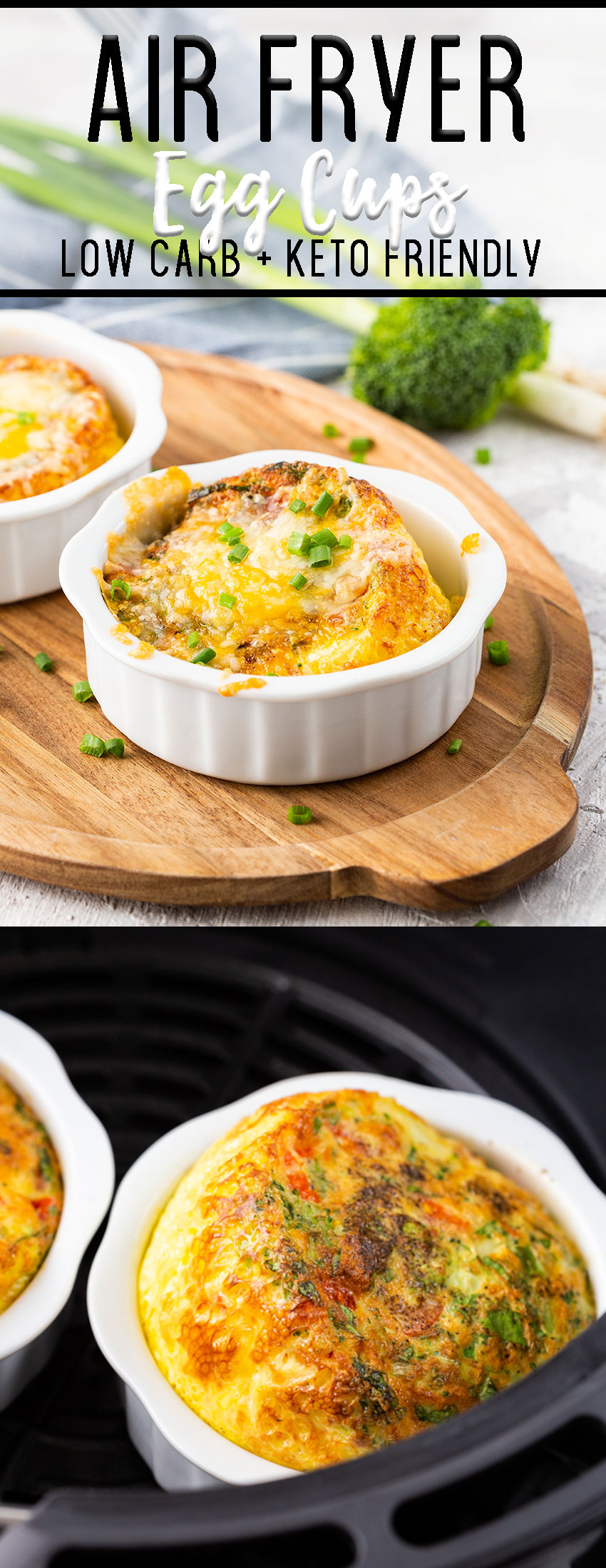 Air fryer egg cups with mixed vegetables and plenty of cheese.