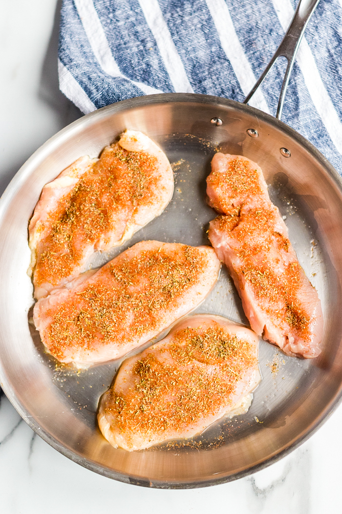 Creamy lemon chicken- season chicken and sear in a pan