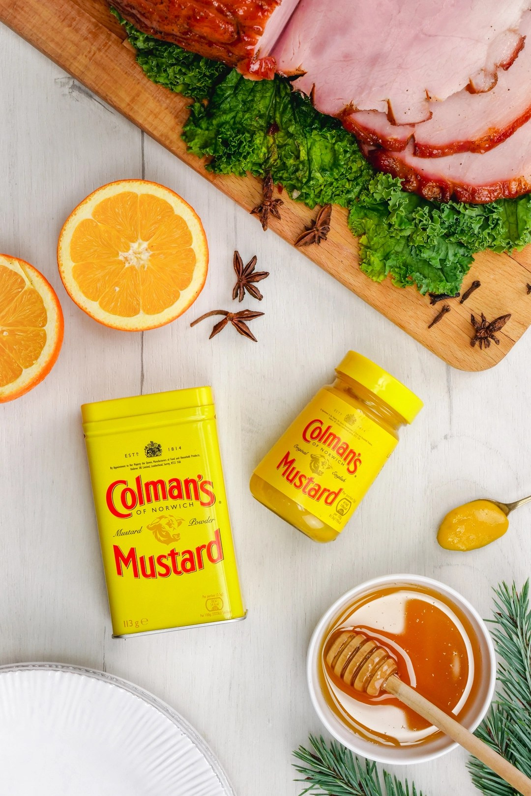 Colman's mustard and some holiday goodies and honey baked ham recipe