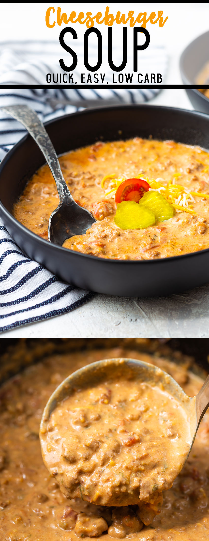 A rich, cheesy, beef soup that uses ground beef and all your favorite cheeseburger ingredients. Low carb and keto diet friendly.