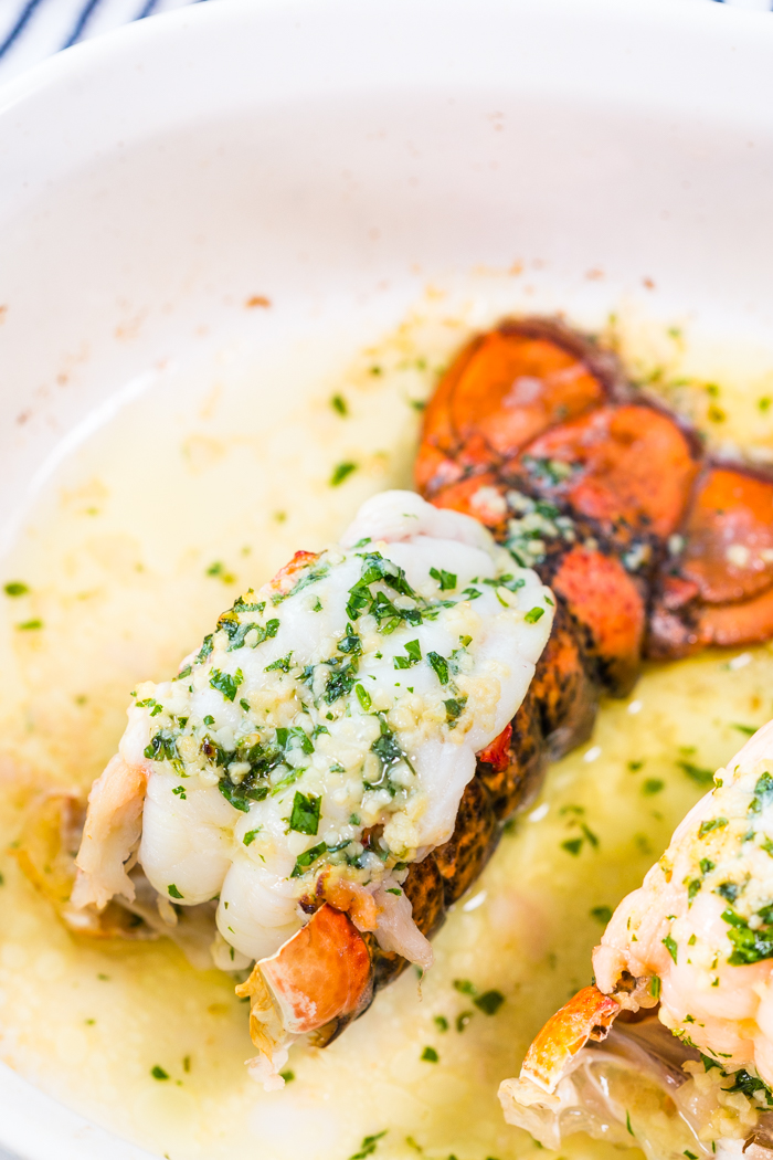 Baked Lobster Tail with a garlic butter and herb mixture